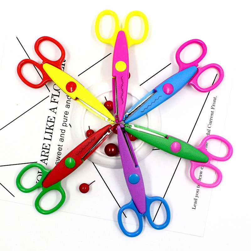 6 colors cute kids DIY decoration craft scissors scrapbook photo security scissors handmade paper-cut pink cutting crafts