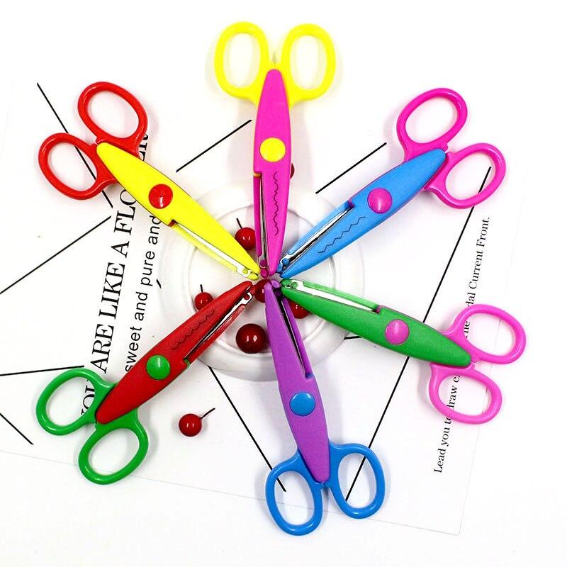 6 Colors Cute Kids DIY Decoration Craft Scissors Scrapbook Photo Security Scissors Handmade Paper-cut Pink Cutting Crafts