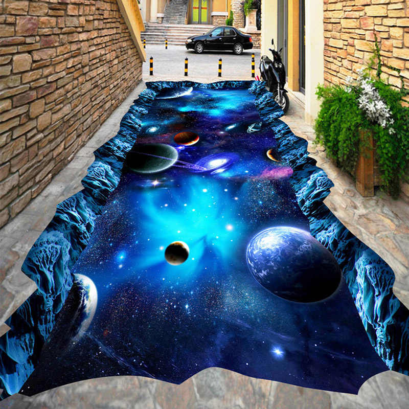 3D Wallpaper Modern Star Universe Flooring Mural Mall Outdoors Kid's Room 3D Floor Tiles PVC Self Adhesive Waterproof Wallpaper