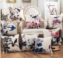 Flower Bird 3D  Linen Cotton Pillow Cases 45x45cm