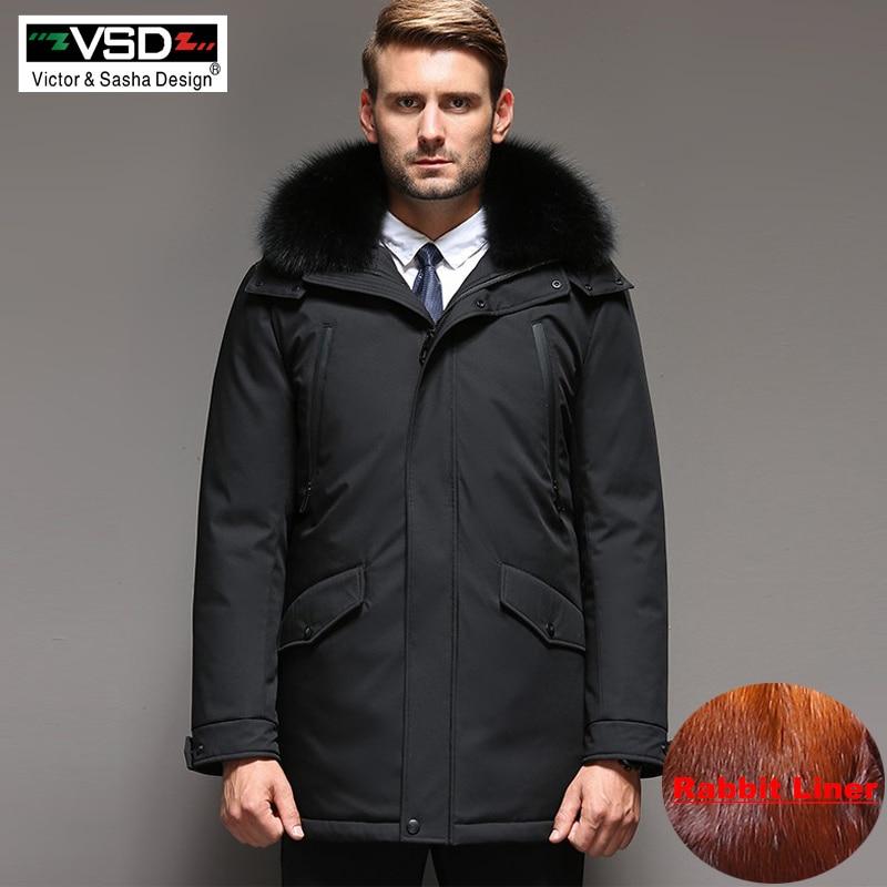 VSD D'hiver-35 Degrés de Vestes Hommes Chaud Vers Le Bas Manteau Parka Épaississement Lapin cheveux Doublure Amovible Col Roulé Coupe-Vent Concise