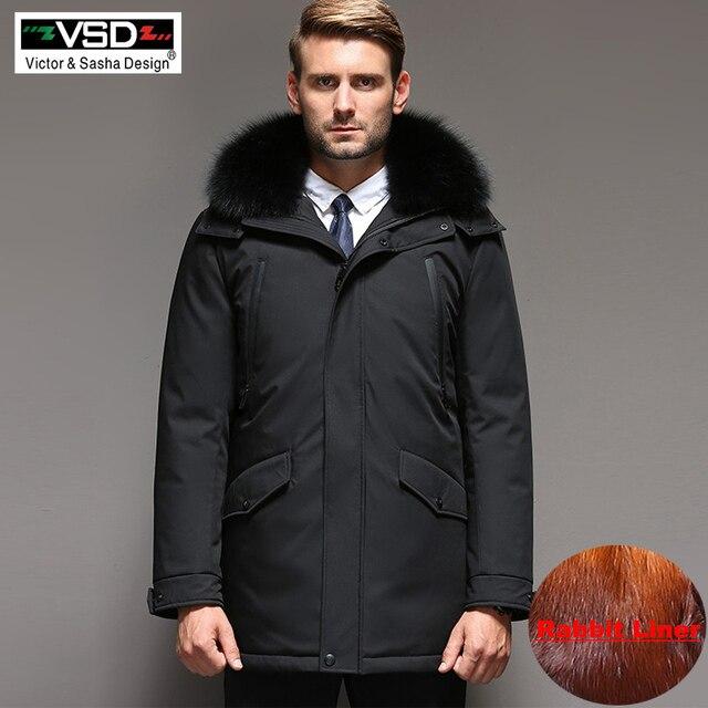 VSD модные зимние куртки Для мужчин теплая Пуховик парка утолщение волос кролика Съемный вкладыш водолазка ветрозащитный в сдержанном стиле VS887