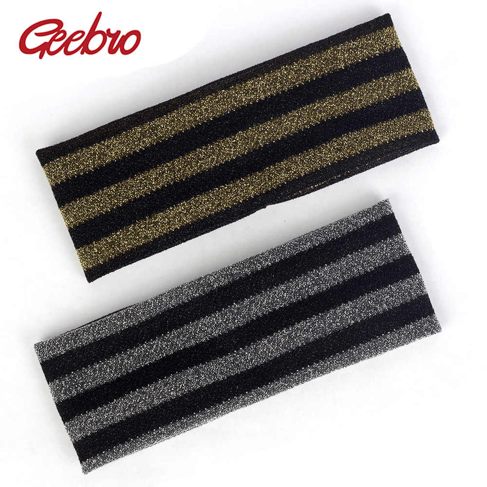 Geebro Women Summer Mesh Net Breathable Headband Shiny Accessories Striped Elastic Flat Hairband For Female Turban Fashion DQ518