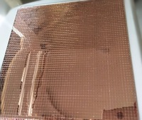 8 sheet Glass Mosaic Tile ,Mini Square Glass Mosaic Mirror Sheet Real Glass Self Adhesive ,Light Rose Gold Mirror Glass Crafts