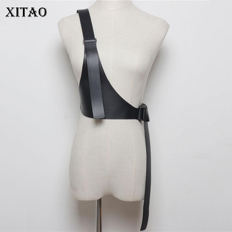XITAO Single Shoulder Strap Women Cummerbunds Korea Fashion Wild Joker Joker Concave Shape P U 2019 Elegant Summer WLD2145
