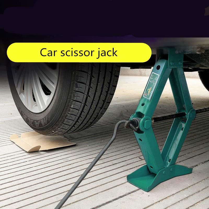 1pc 0.75Ton Car Jack Foldable Handle Scissor Jack Car Truck General Jack Top Tyre Tool                          Car Repair Tools