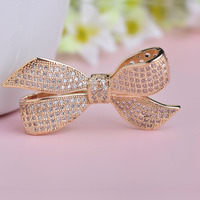 Korean Style Bowknot Women S Brooches 18k Gold Plated Rhodium Crystal Brooch Suit Collar Pin Scarf