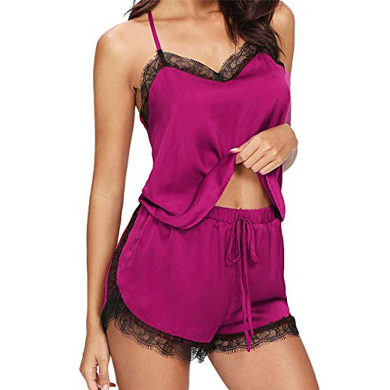 Women Sleepwear Sleeveless Strap Nightwear Lace Trim Satin Cami Top   Pajama     Sets   Mulheres Ropa Para El Hogar Nocturne B1