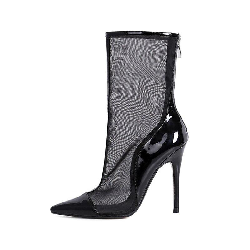 DoraTasia nuevas mujeres zapatos de marca de malla de aire de cuero genuino tacones altos puntiagudos zapatos de cremallera Mujer Casual botas de verano-in Botas a media pierna from zapatos    2