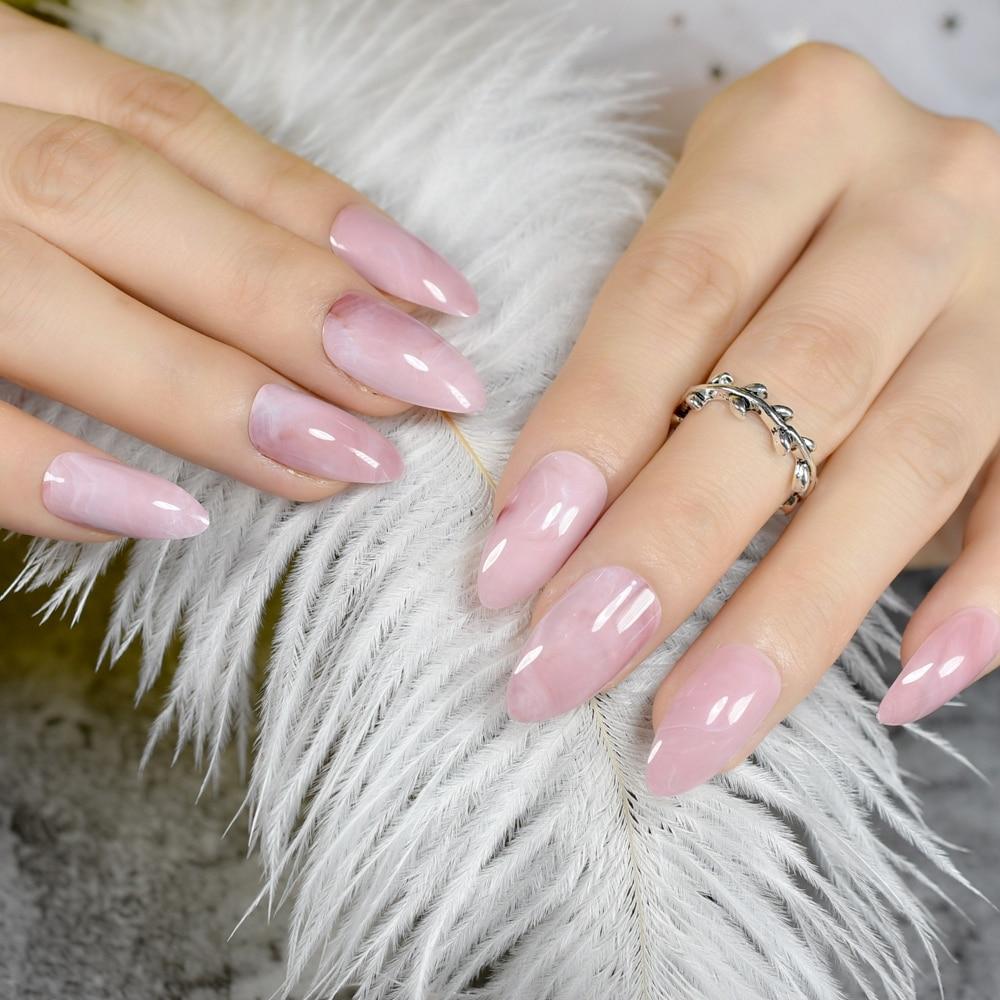 Pink Marble Stiletto Nails Almond Design Medium Sharp Top Artificial