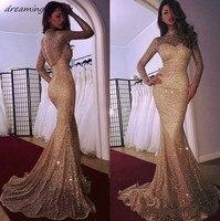 Гламурные платья для выпускного вечера с длинными рукавами и блестками вечернее платье цвета шампанского Дубай арабские платья для вечери