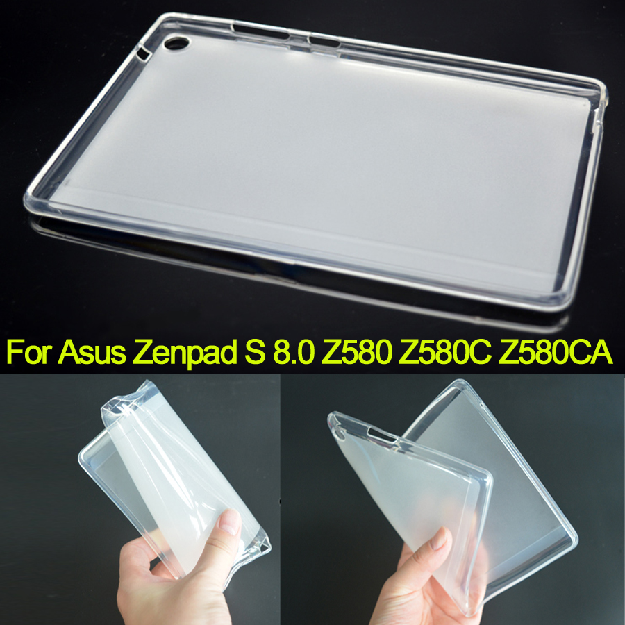 Z580 Ultra Slim Case Soft TPU Rubber Cover For Asus Zenpad S 8.0 Z580C Z580CA Silicon Back Cover Shockproof Protective Case luxury ultra slim waterproof soft silicone rubber protective shell case cover for asus eee pad transformer prime tf201