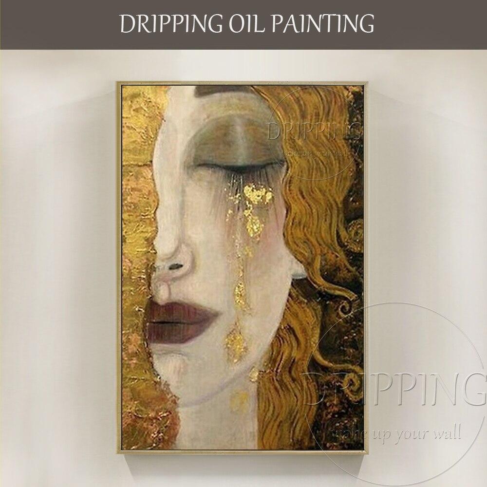 Top Artista Arte dipinta A mano Pura di Alta Qualità di Lusso Donna In Oro Lacrima Olio di Gustav Klimt Riproduzione Della Pittura A Olio pittura
