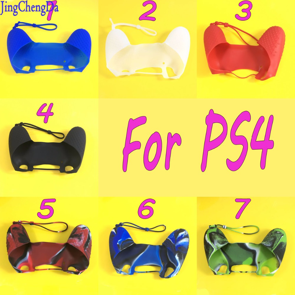 Jing Cheng Da 11PCS Soft Silicone Protection Case with Hand Wrist Strap for Sony Playstation 4 PS4 Pro Slim Controller