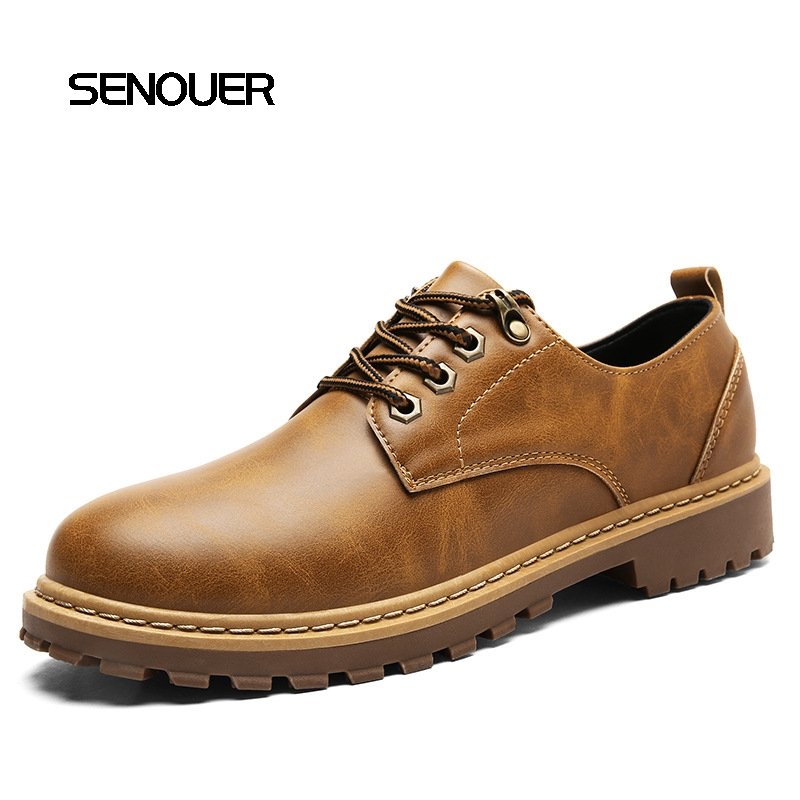 Stylish Spring Autumn Winter Men Shoes British Style Men's Quality Lace Up Work Tooling Shoes ws7511 men s autumn winter wear british style slim coat khaki l