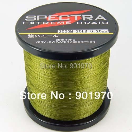 ФОТО Factory Price&Free Shipping! 4 strands braided fishing line 2000m 20lb dark green