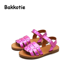 Bakkotie 2017 New Fashion Summer Baby Sweet Girl Leisure Beach Sandals Kid Brand Toddler Causal Shoes Purple Children Gun Color