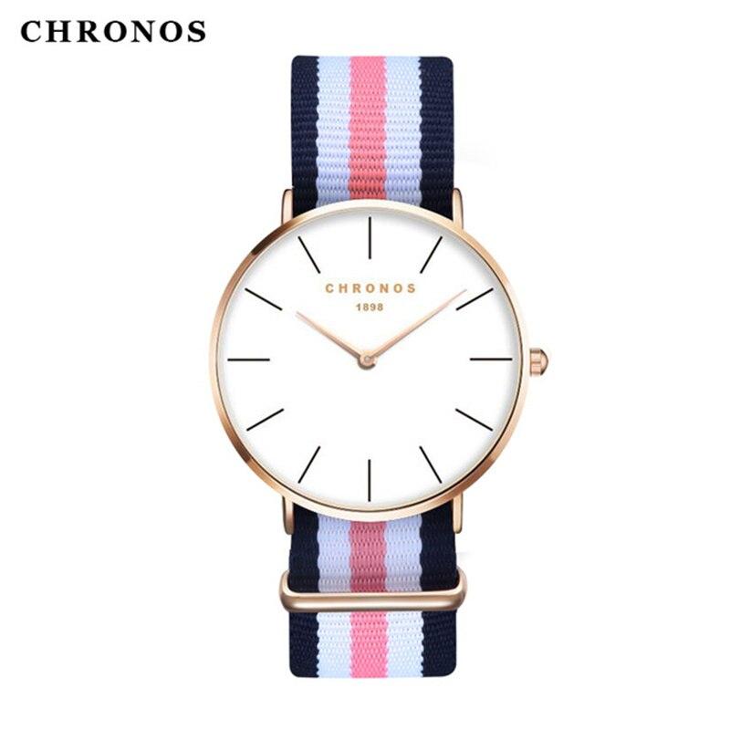 a8fff7afbac Relógios para Mulheres dos Homens Marca de Moda Chronos da Casual Esporte  Relógio de Nylon Clássico Masculino Quartzo Pulso Feminino