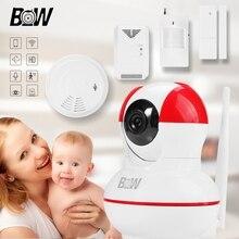 Wifi cámara de vigilancia + puerta/infrarrojos motion sensor de humo/detector de gas bebé monitor de la cámara wifi de control remoto móvil bw012r