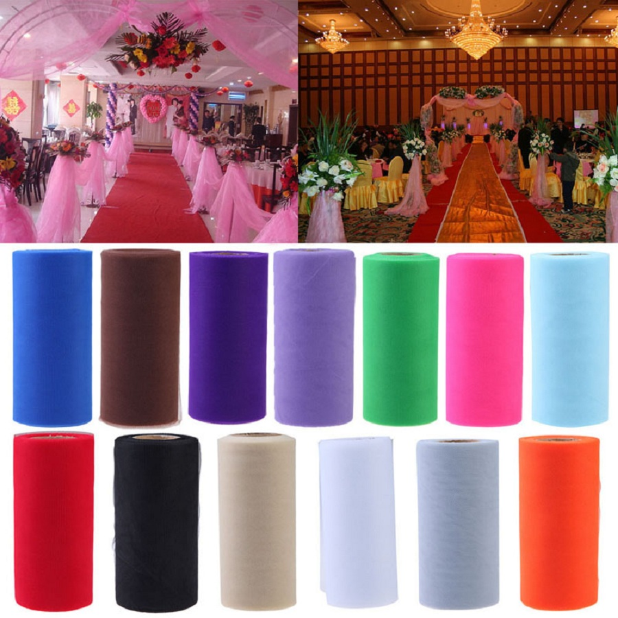 25Yards/Lot 6 inch Tissue Tulle Paper Wedding Decoration Colorful Roll Spool Craft Birthday Holiday Decor
