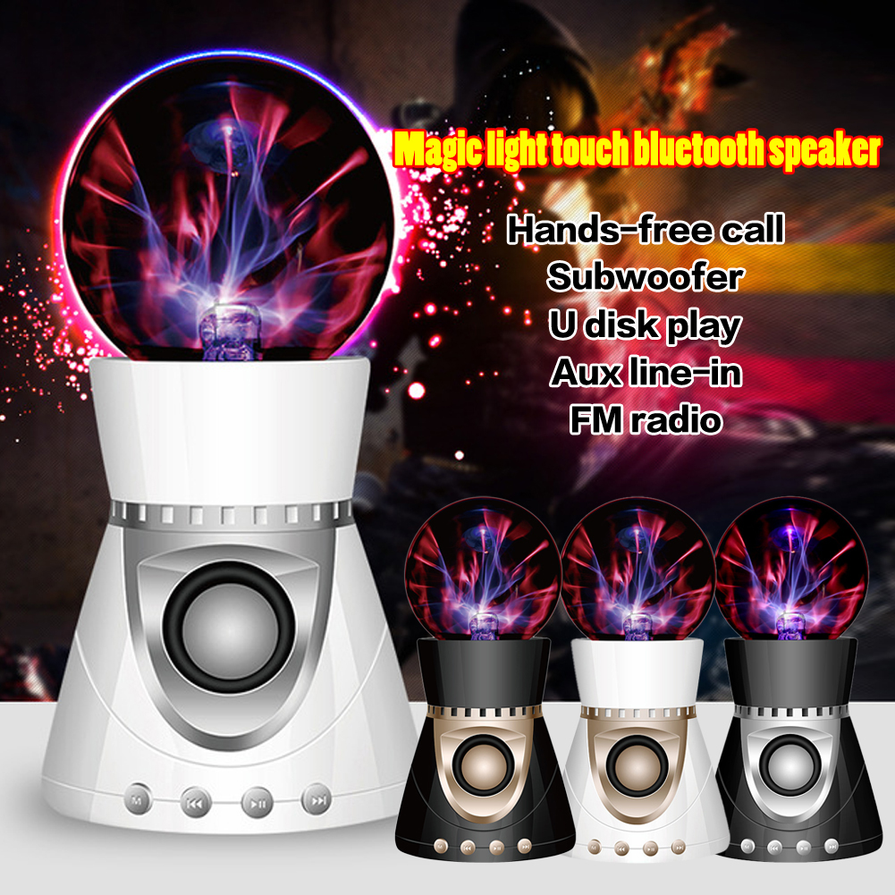 ФОТО 100% Original Bluetooth Wireless Magic Mini Plasma Ball Light Flash Music Speaker Portable TFCard Play AUX-In For iphone samsung