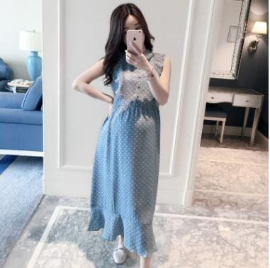 Hot Fashion Dot Fresh Long Maternity Dresses 2019 Autumn New Slim Pregnancy Dress Maternity Clothes for Pregnant Women QL5991 in Dresses from Mother Kids