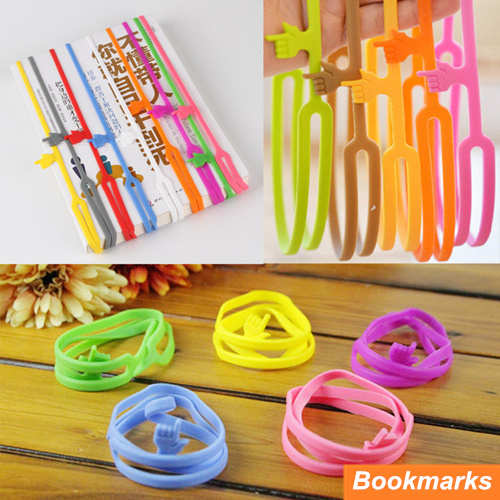 6 Pcs/Lot Silicone Finger Print Handy Bookmarks Book Holder Papelaria Marcador De Livro Stationery Office School Supplies 6468