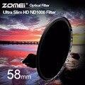 ZOMEI 58mm Filtro ND1000 Pro 10 Parar HD MC Vidro Óptico Neutro densidade nd 3.0 nd 1000 filtro para canon nikon sony pentax lente 58