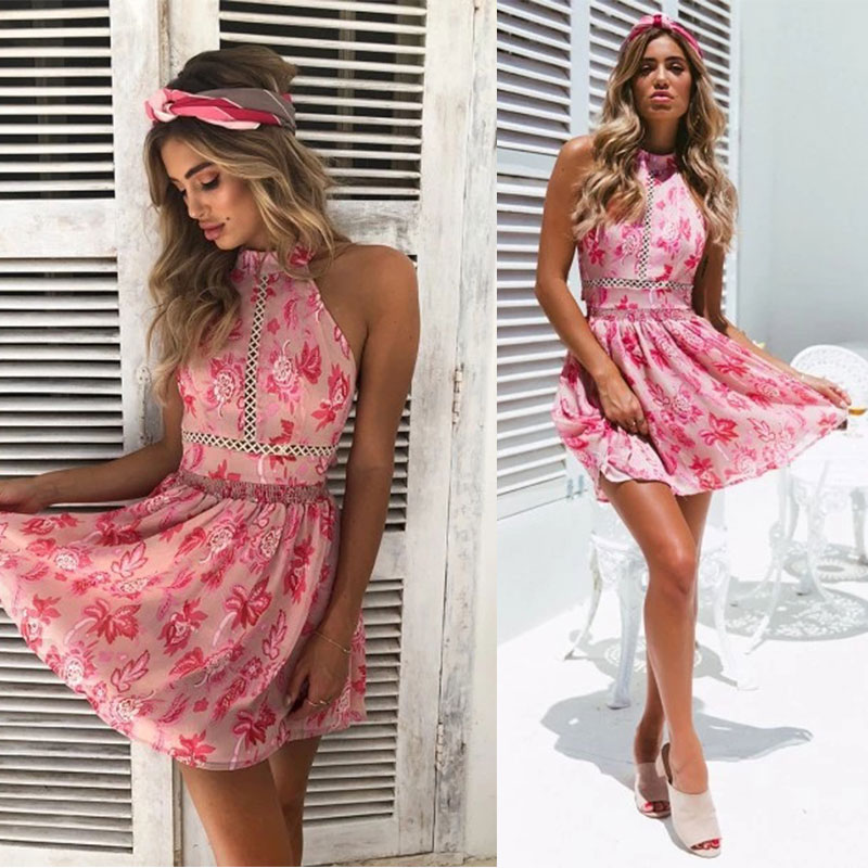 JSMY 2019 New Summer Fashion Women Beach Dress Bohemian Style Printed Hanging Neck Backless Waist Hollow Lace in Dresses from Women 39 s Clothing