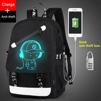 Boys School Backpack Student Luminous Animation USB Charge Changeover Joint School Bags For Teenager Computer Bag