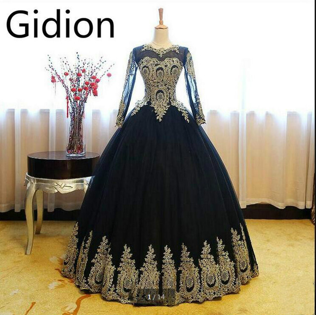 Robe De Soiree black gold lace ball gown long sleeve prom dress ...