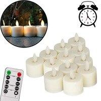 12 sztuk/paczka realistyczne LED świeczki tea light migotanie świeczka bez ognia 10 klucze pilot zdalnego Conttrol na baterie świece na płynny wosk na