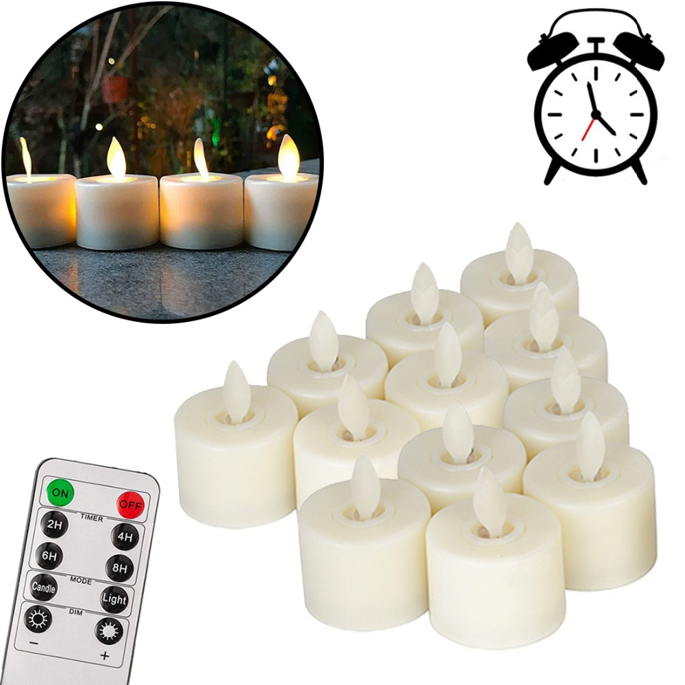 12pcs/pack Realistic LED Tea Light Candles Flickering Flameless Candle 10-keys-remote Conttrol Battery-operated Fake Candles