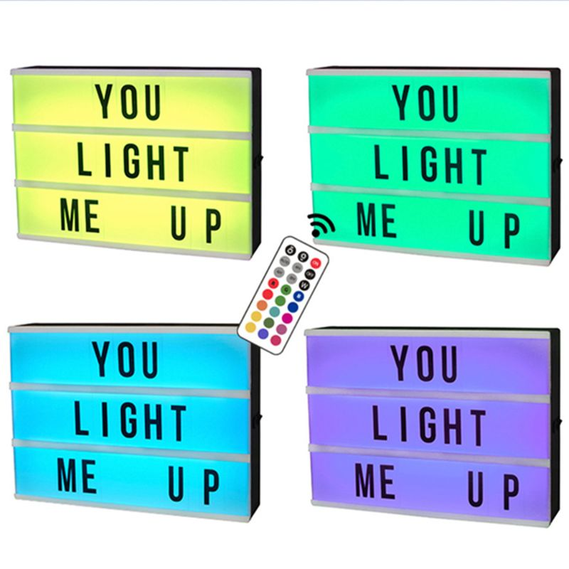 A5 Size Mini Magnetic 7 Colors Changing Cinematic Night Light LED Message Box With 90 Letters Numbers Symbols Remote Control
