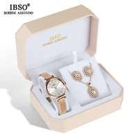 f62c39a0a2b3 Ибсо Марка Женский Кристалл Дизайн Комплект часов женский ювелирный набор  модные Необычные кварцевые часы набор украшений