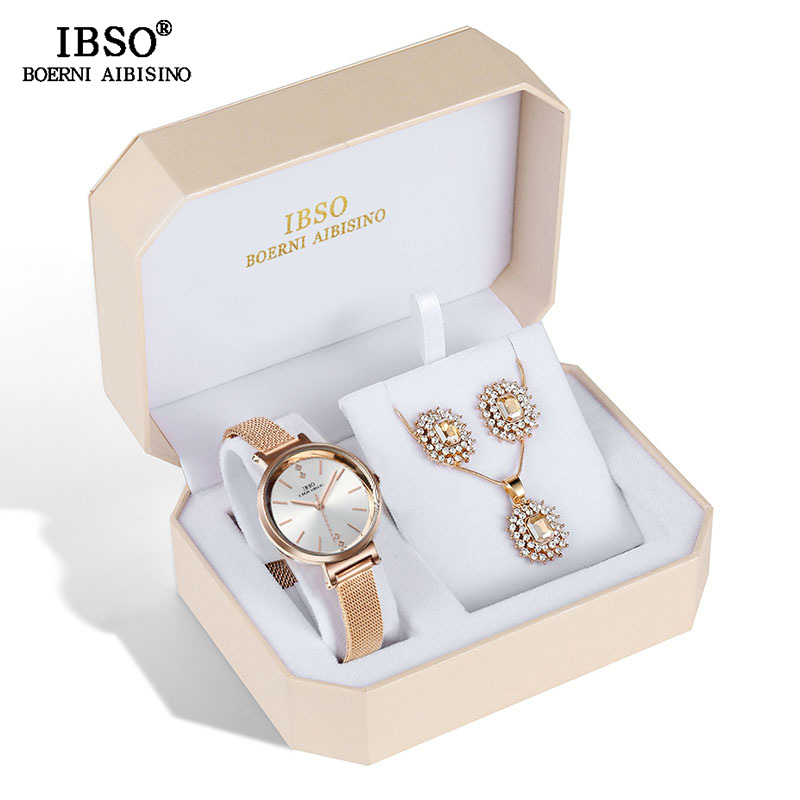IBSO Brand Women Crystal Design Watch Set Female Jewelry Set Fashion Creative Quartz Watch Earring Necklace Set Lady's Gift