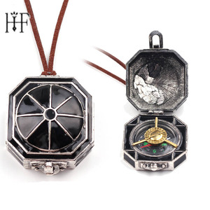 Hot Pirates Of The Caribbean Necklace Jack Sparrow Box Compass Pendant Choker Necklace for Women Men Wanderlust Trinkets Colar(China)