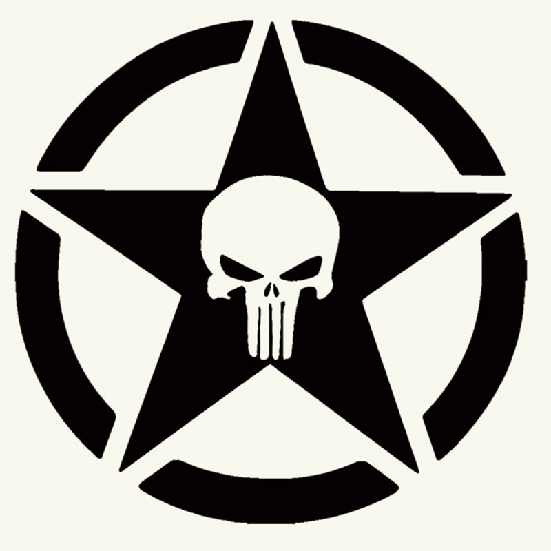 50cm X 50cm Punisher Military Army Star Car Sticker For Cars Side