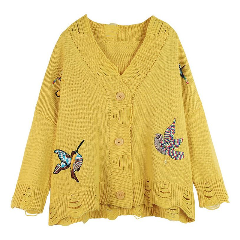 DoreenBow 2017 New Fashion Women Autumn Knitted Cardigans Female Birds Embroidery Sweaters Long Sleeve Casual Chic Yellow Blue