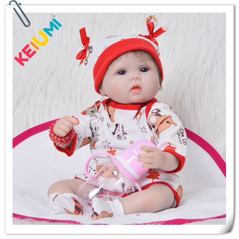 New Arrival 43 cm Silicone Doll Soft Vinyl 17 Realistic Reborn Baby Dolls Handmade Cloth Body