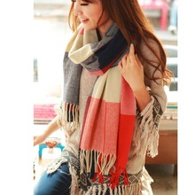 Winter Women's Wool Plaid Cashmere Scarf Long Shawl