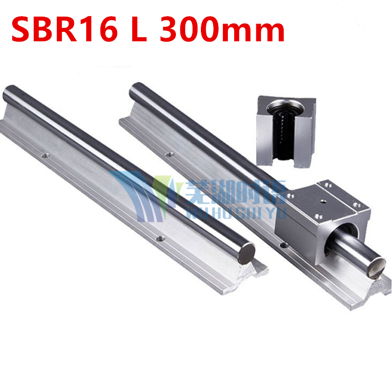 Fast shipping 2pcs SBR16 L 300mm Linear Bearing Rails + 4pcs SBR16UU Linear Motion Bearing Blocks (can be cut any length)