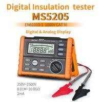 Insulation Resistance Tester PEAKMETER MS5205 Analog and Digital 2500V megger meter 0.01~100G Ohm with Multimeter