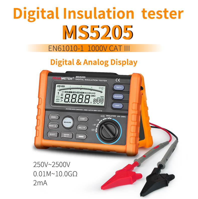 Insulation Resistance Tester PEAKMETER MS5205 Analog and Digital 2500V megger meter 0.01~100G Ohm with Multimeter image