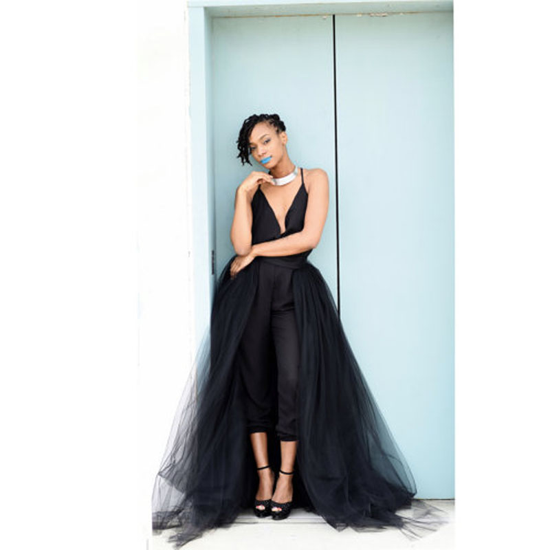 01f4ceeed Falda de tul negro de la boda de la falda de tul largo de moda 2016  elegante desmontable falda de ...