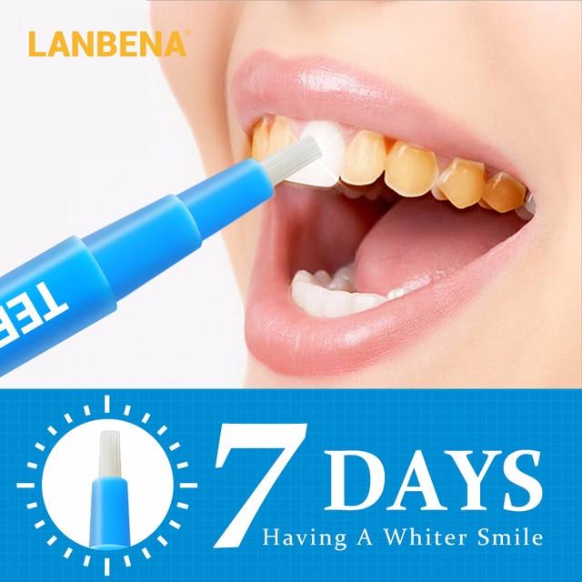 LANBENA pluma blanqueadora de dientes acumulación de sarro de los dientes limpio suero cepillo de higiene Oral esencia elimina la placa Manchas suero herramientas dentales