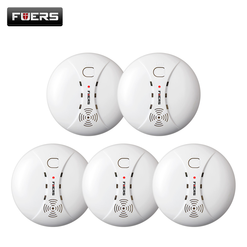 Fuers 5pcs/lot Wireless Smoke/fire Detector smoke alarm for Touch Keypad Panel wifi GSM Home Security System without battery yobangsecurity touch keypad wireless wifi gsm home security burglar alarm system wireless siren wifi ip camera smoke detector