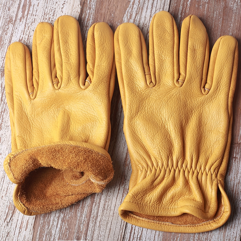Top Quanlity Cow Leather Leather Mens Driving Yellow Gloves
