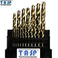 Tasp 19 unid titanium hss twist drill bits set 1.0 ~ 10mm vástago redondo de metal accesorios para herramientas eléctricas