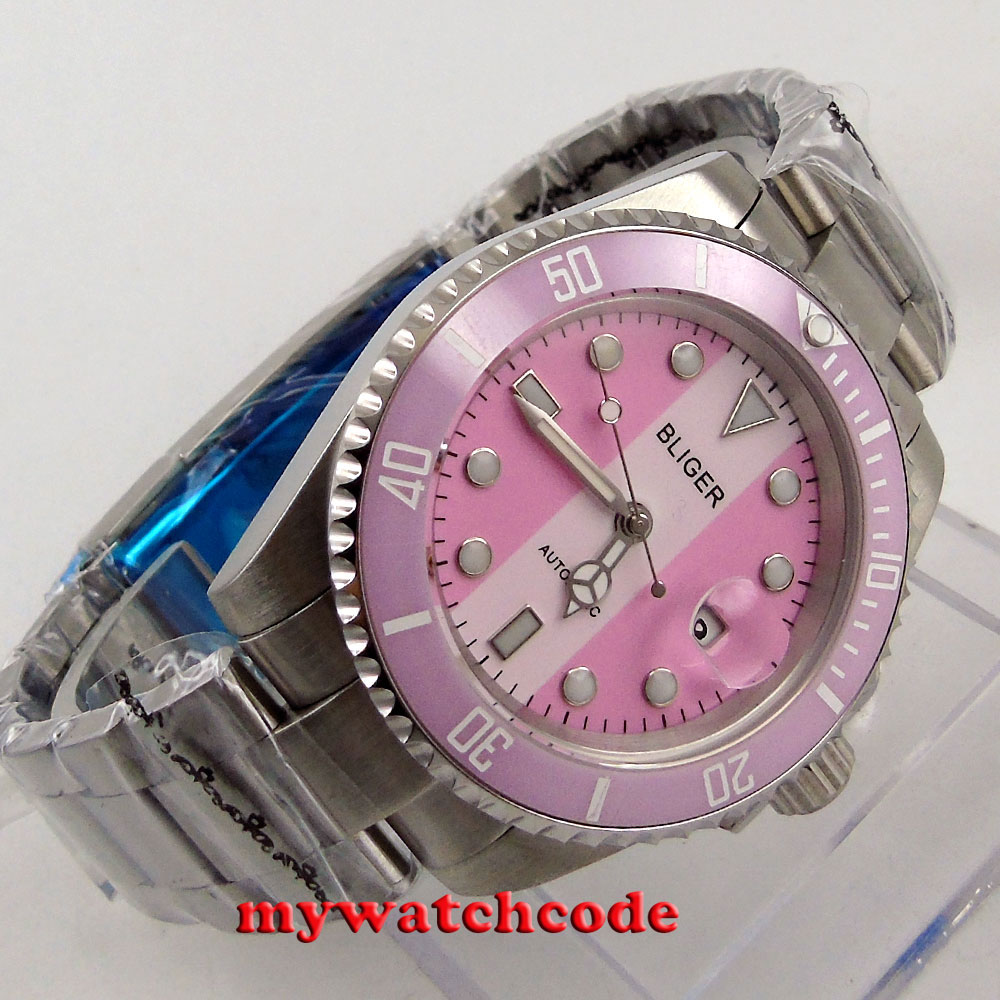40mm Bliger pink dial sapphire crystal automatic movement unsex womens watch 115 цена и фото